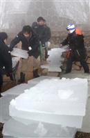 【動画】六甲山で天然氷の切り出し作業 神戸