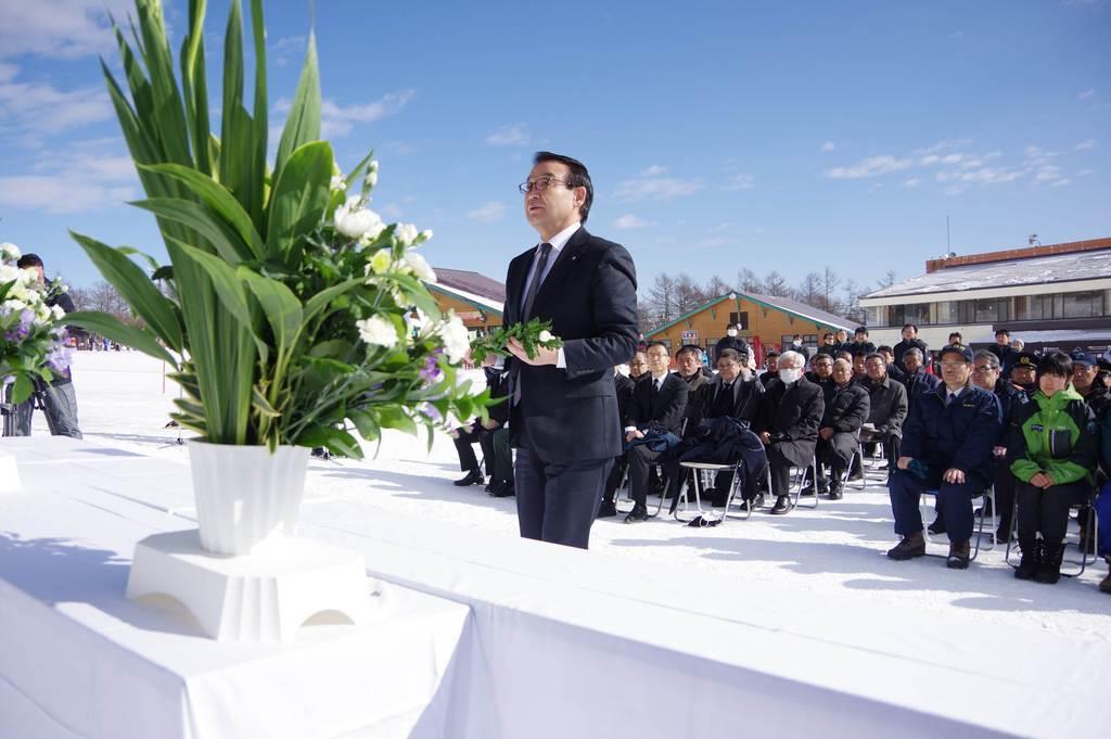 本白根山噴火1年 草津温泉スキー場で追悼式 町長 必ず観光客戻る