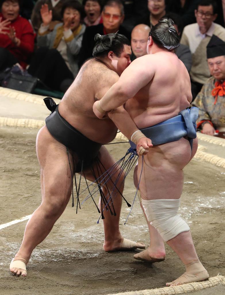 大相撲一月場所12日目 高安は寄り切りで碧山を下す=24日、両国国技館(撮影・菊本和人)