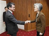 関係改善促す河野氏、国内アピールに躍起の韓国外相