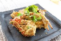【料理と酒】渡り蟹と卵のカレー炒め シンハービールとどうぞ