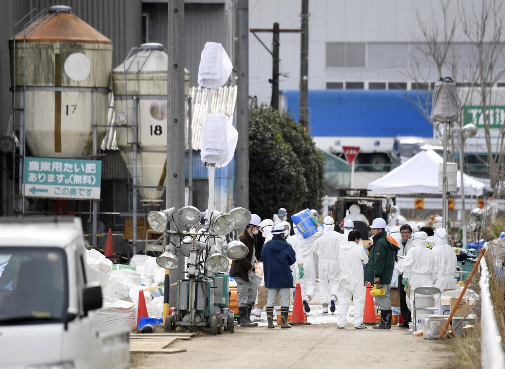 防疫作業などが続く愛知県豊田市の養豚場=8日午前