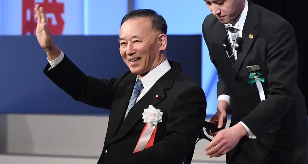 自民党大会に出席した元総裁の谷垣禎一氏=10日午前、東京都港区(鴨川一也撮影)