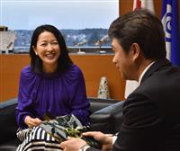 女優の羽田美智子さんが茨城知事表敬