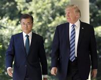 米韓首脳が電話会談 文在寅氏が事実上の対北制裁緩和要求