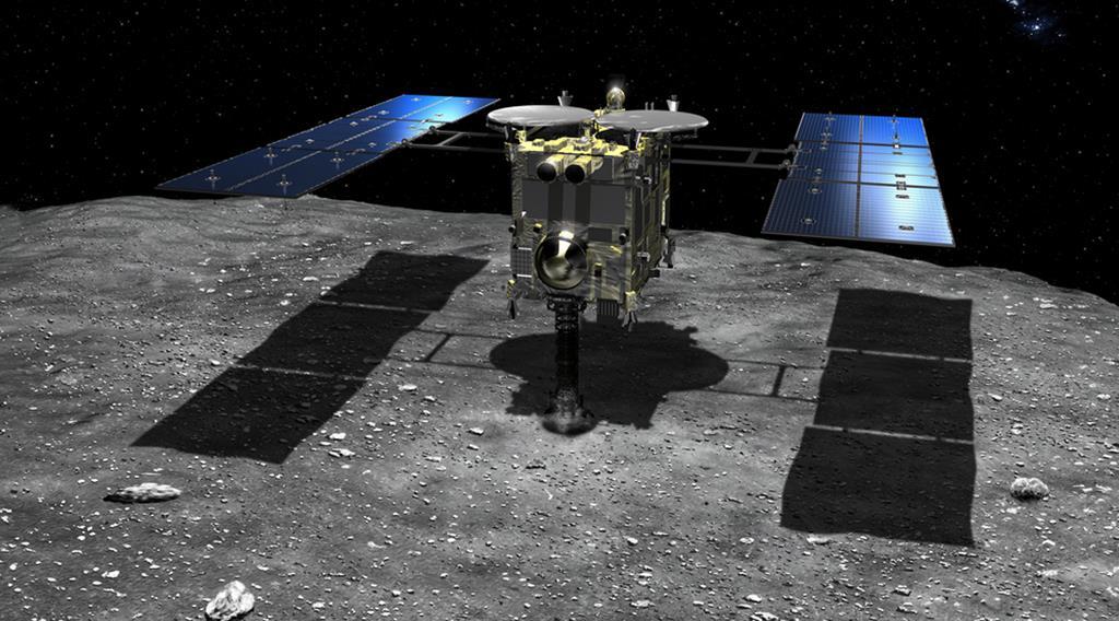 小惑星「リュウグウ」に着地して物質を採取する探査機「はやぶさ2」の想像図(池下章裕氏提供)