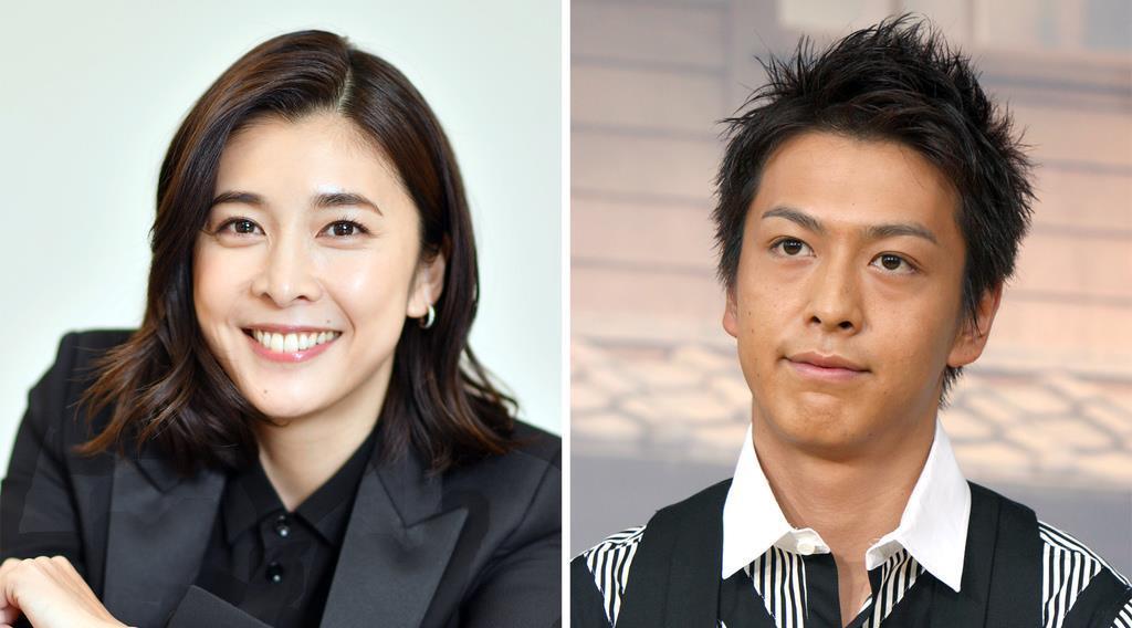結婚を発表した女優の竹内結子さん(左)と俳優の中
