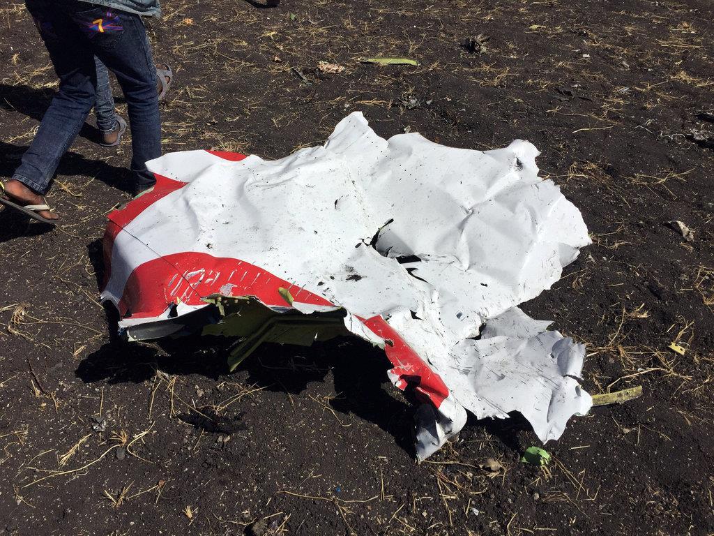 エチオピア航空のET302便の一部とみられる物体=10日、アジスアベバ南東(ロイター)