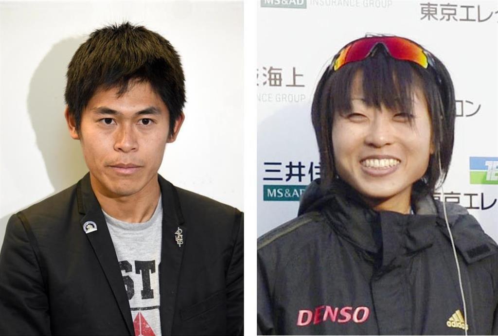 左から、川内優輝選手、水口侑子選手