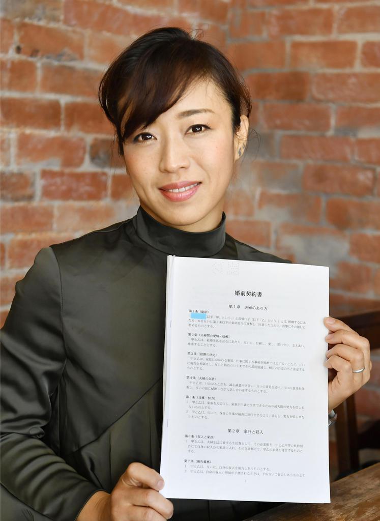 婚前契約書を手にするSILVAさん=神奈川県内