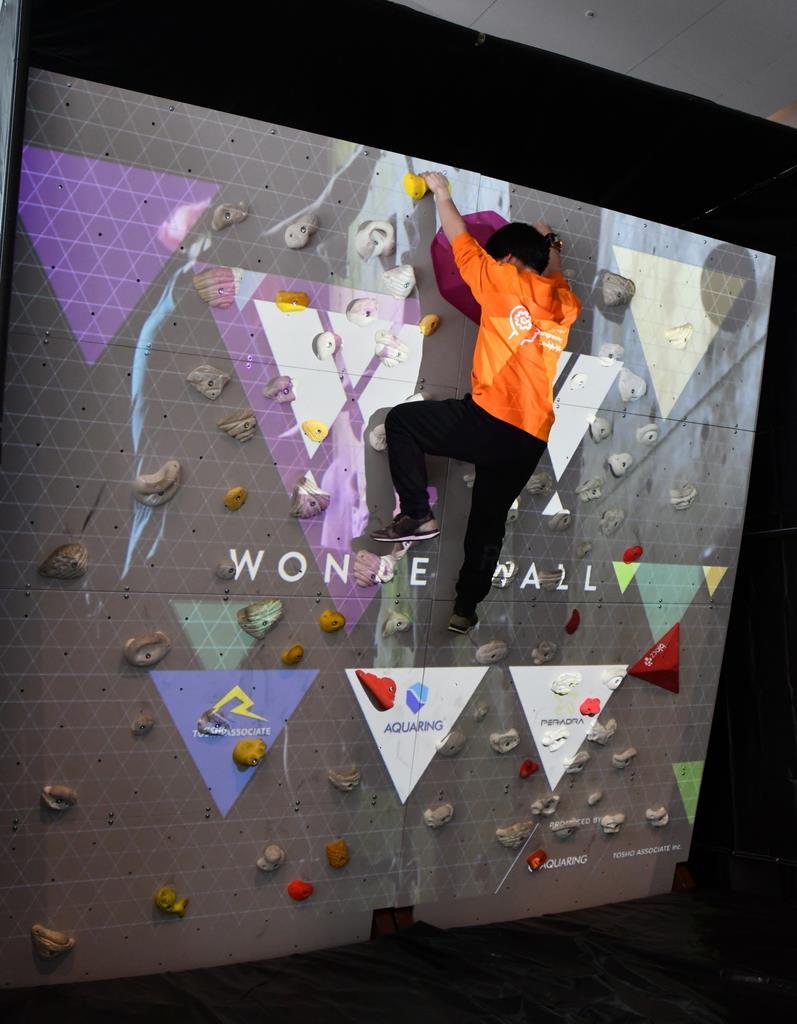 体験型イベント「エクス-クロス」で出展されたスポーツクライミングの壁面=大阪市北区のうめきたSHIPホール