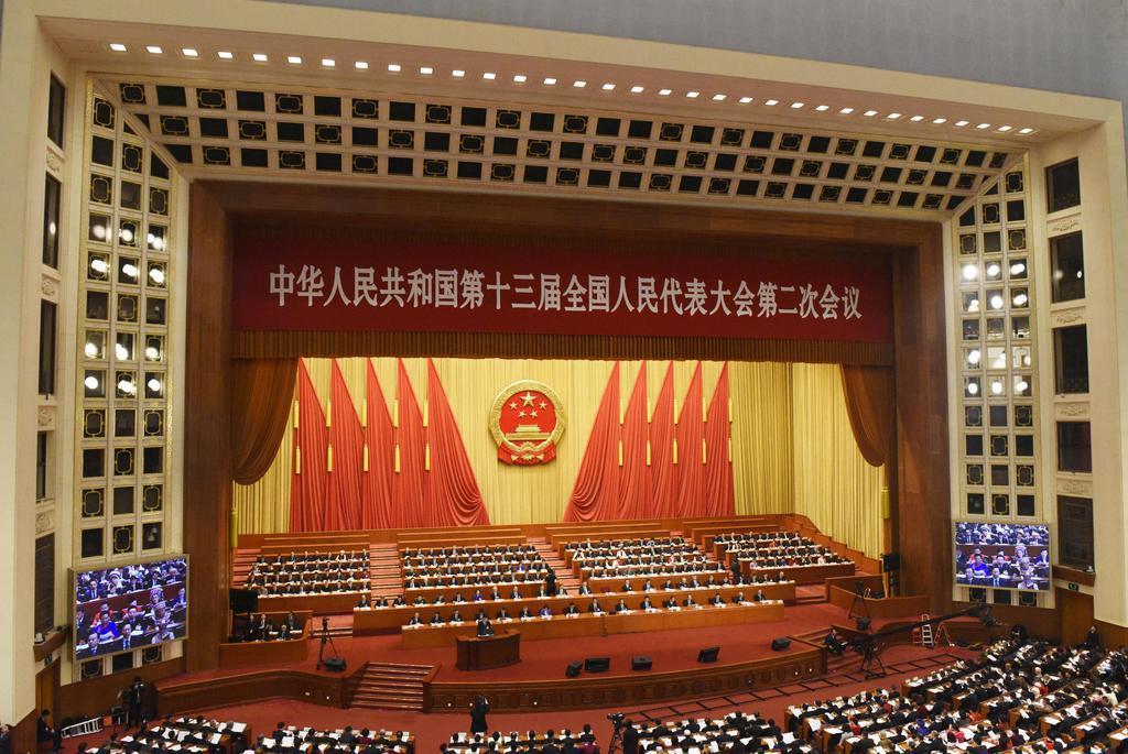 北京の人民大会堂で開かれた中国の全国人民代表大会(共同)
