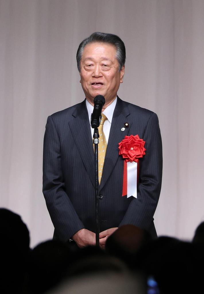 国民民主党のパーティーで挨拶する自由党の小沢一郎衆院議員=14日午後、東京都港区(萩原悠久人撮影)