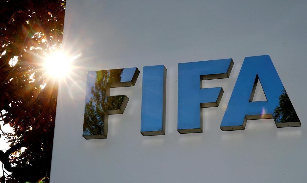 FIFA本部にあるロゴ=チューリヒ(ロイター)
