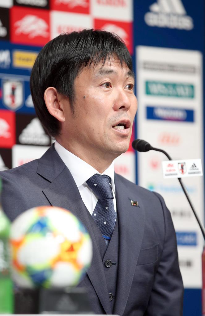 サッカーの国際親善試合に臨む、日本代表メンバーを発表する森保一監督=14日、東京都文京区