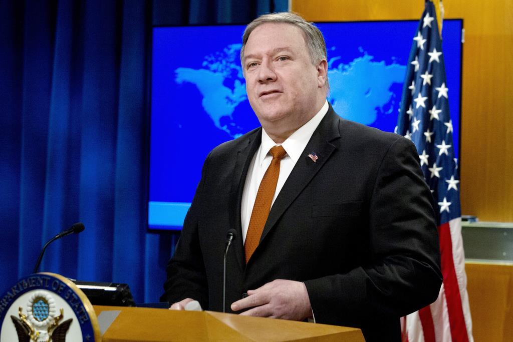 中国の人権について言及する米のマイク・ポンペオ国務長官=13日、米ワシントン(AP)