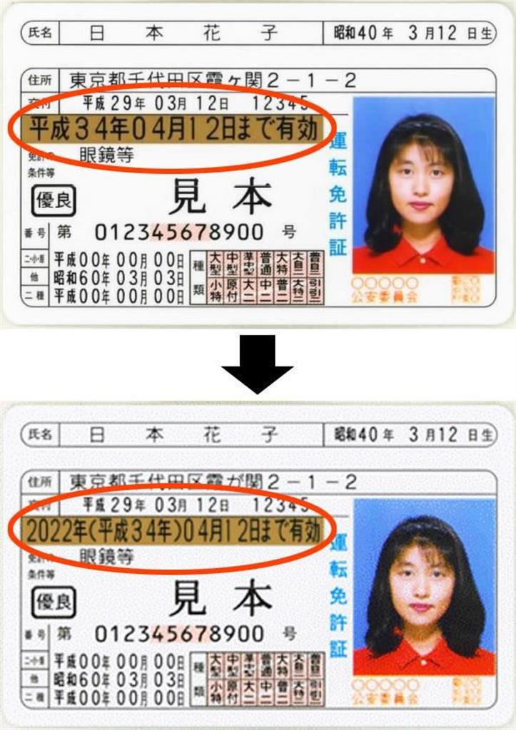 有効期限などが元号で記載されている運転免許証(上)と、有効期限を西暦の次に括弧書きで元号を併記する記載にした運転免許証。いずれも見本(警察庁提供)