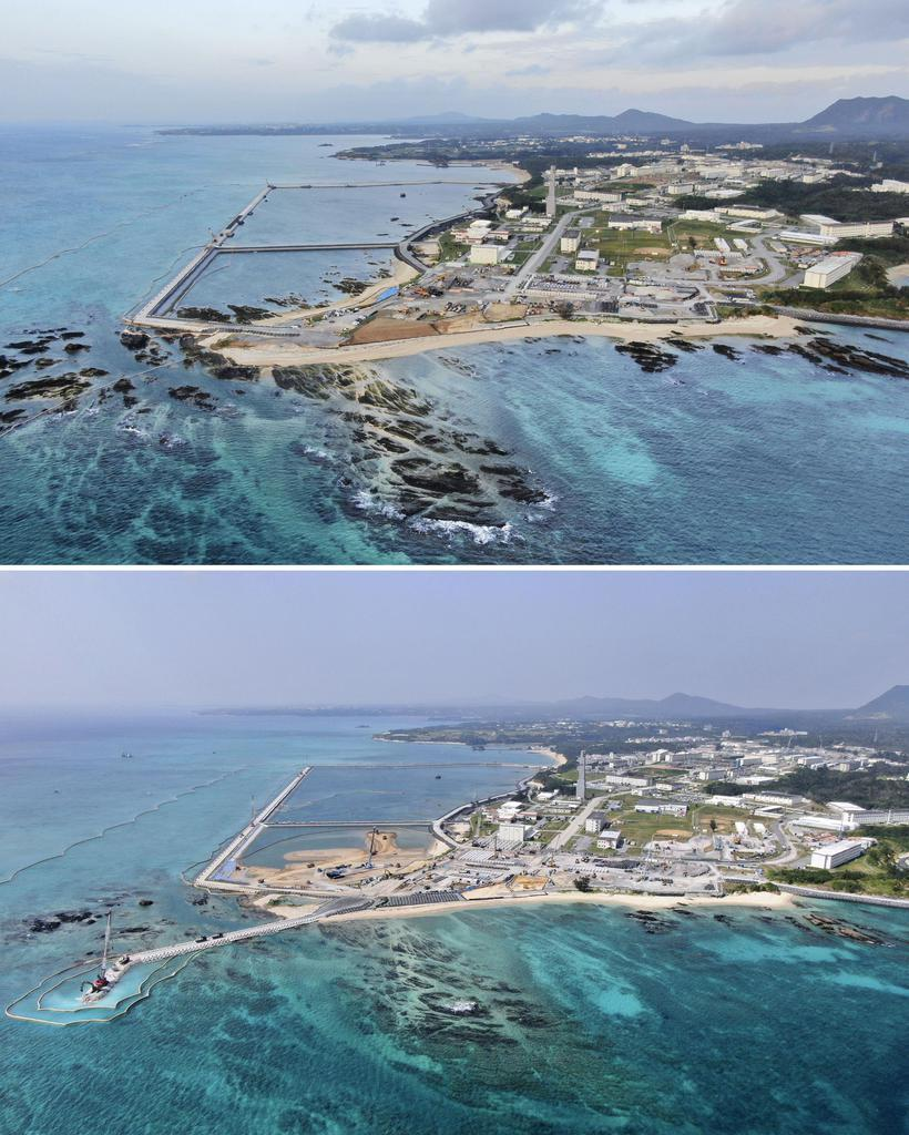 土砂が投入される直前の昨年12月14日(上)と、3月13日の沖縄県名護市辺野古の沿岸部。埋め立てに着手した区域の海面の3分の1超が土砂で埋まった(小型無人機から)