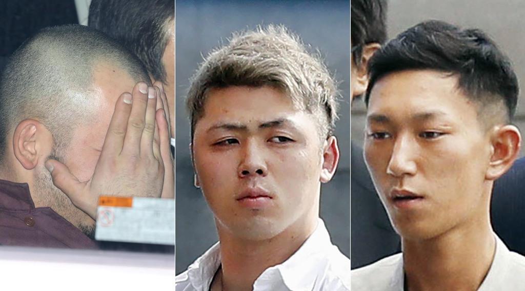 (左から)小松園竜飛容疑者、須江拓貴容疑者、酒井佑太容疑者=13日