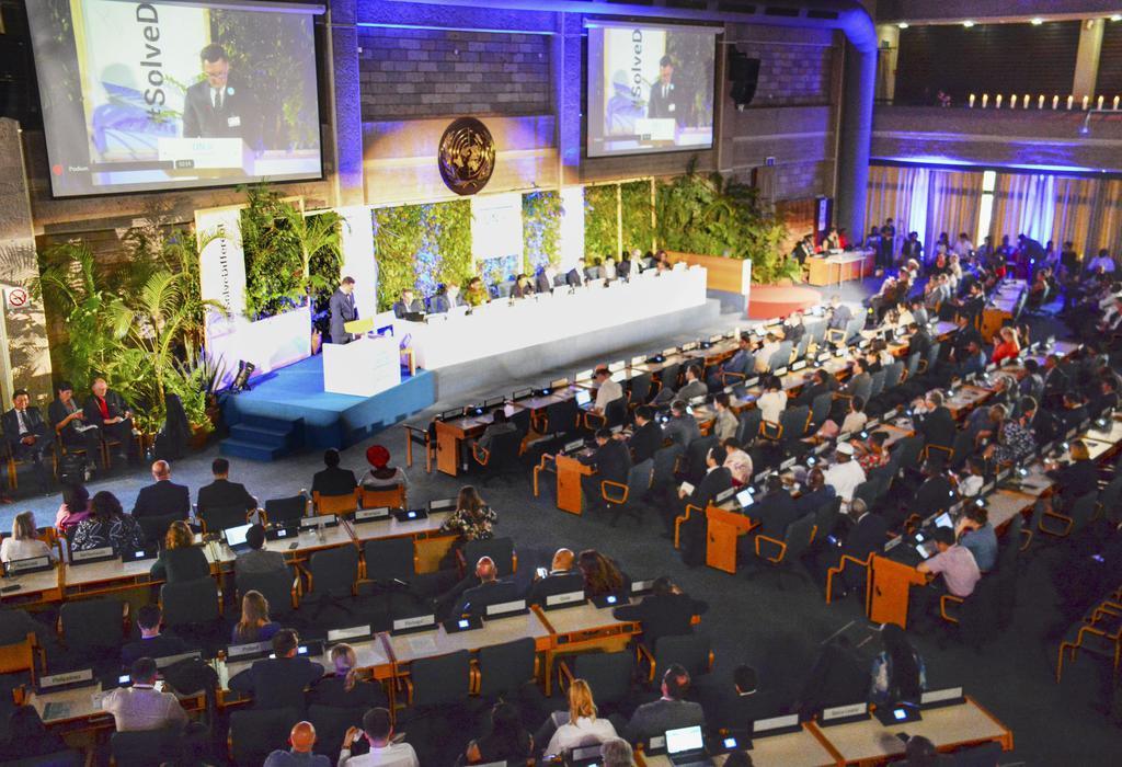 15日、最終日を迎えた国連環境総会=ナイロビ(共同)