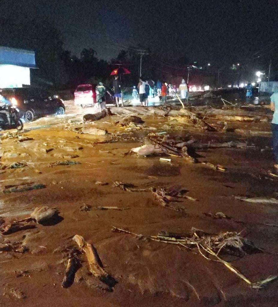 インドネシアで16日発生した鉄砲水の被災地域=インドネシア・ジャヤプラ近郊(同国の国家災害対策庁提供)