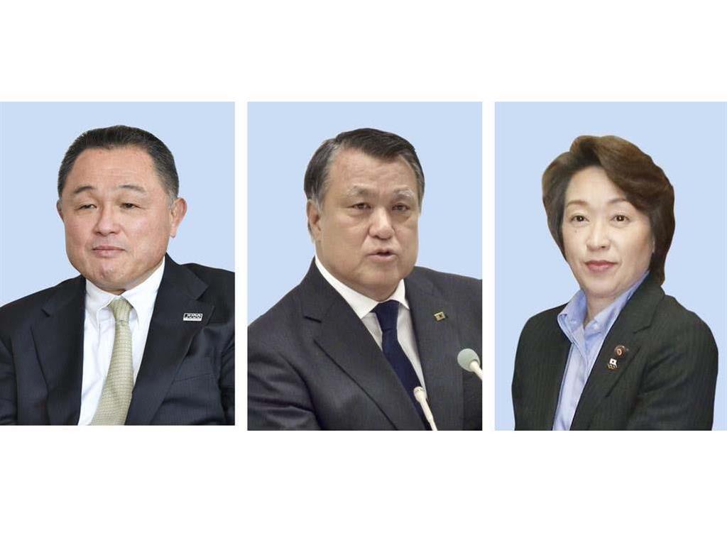 竹田恒和JOC会長の後任として取りざたされる(左から)山下泰裕氏、田嶋幸三氏、橋本聖子氏