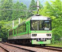新緑の「きらら」運行 京都・叡山電鉄展望列車