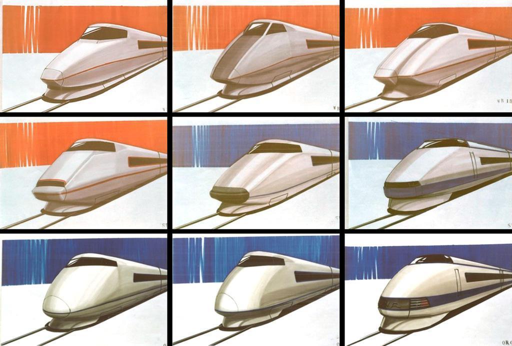 新幹線「100系」の構想段階のデザイン案。車体側面の帯は、オレンジなど青以外の色も検討された(JR東海提供)