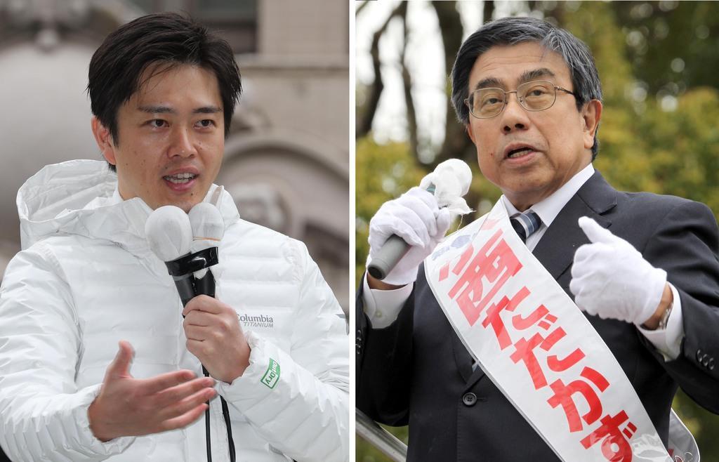 第一声を上げる吉村洋文氏(左、恵守乾撮影)と支持を訴える小西禎一氏(前川純一郎撮影)=21日、大阪市内