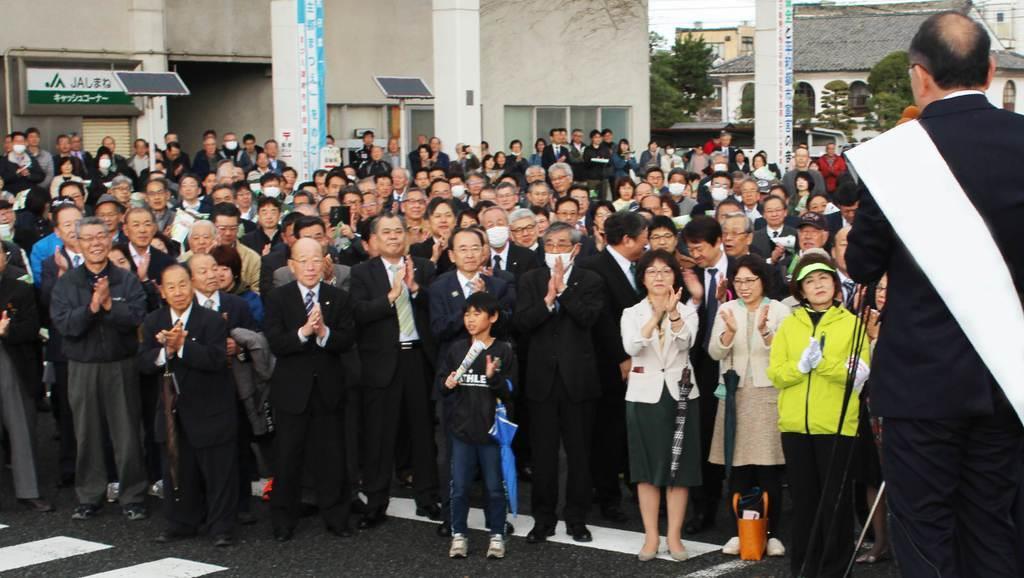 44年ぶりの保守分裂選挙となった島根県知事選。4人が立候補する激戦となった=松江市