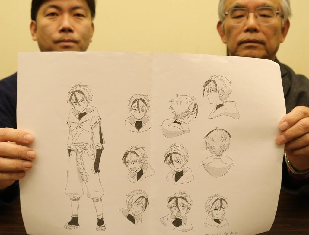 若手漫画家の志藤ミネさんによる猿飛佐助のラフスケッチ
