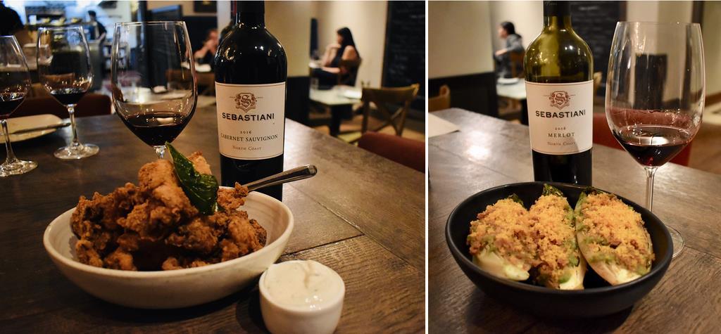 リストにはないワインだが、ペアリング体験。フライドチキンと「セバスチャーニ カベルネ・ソーヴィニヨン ノースコースト」は元気がでる組み合わせ(左)。グリルしたレタスにカラスミをのせたサラダは、メルローで軽やかに