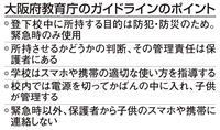スマホ持ち込み指針決定、「保護者の責任」強調 大阪
