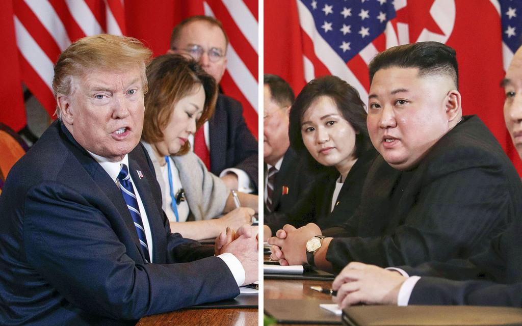 2月28日、ハノイで米朝首脳会談の拡大会合に臨むトランプ米大統領(左、AP)と北朝鮮の金正恩朝鮮労働党委員長(ロイター)