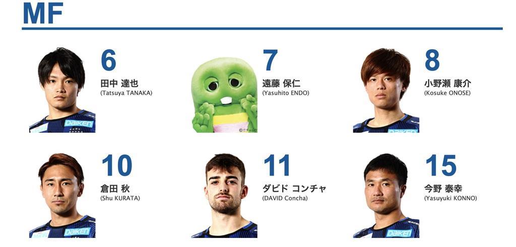 遠藤保仁選手の写真が入れ替えられたページ=ガンバ大阪のHPから