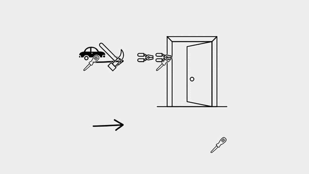 絵を使ったゲーム「Iconary」に、クルマ、いくつかの工具、出入り口が表示されているところ。IMAGE COURTESY OF ICONARY