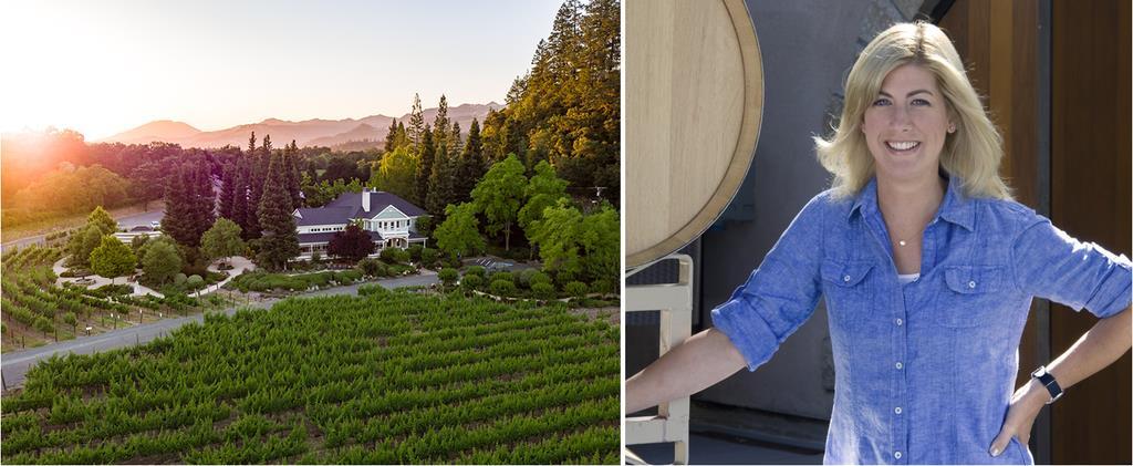 ブドウ畑に囲まれるダックホーン。ワインメーカーのレネ・アリさん(右)は、伝統への強いこだわりで次世代を牽引する(同社提供)