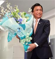 二階氏、分裂制した福岡知事激励「しっかり働いて」