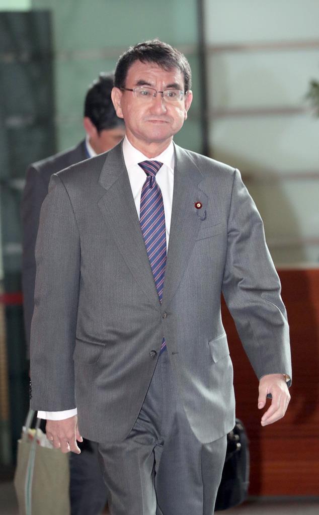 河野太郎外務相=12日午前、首相官邸(春名中撮影)