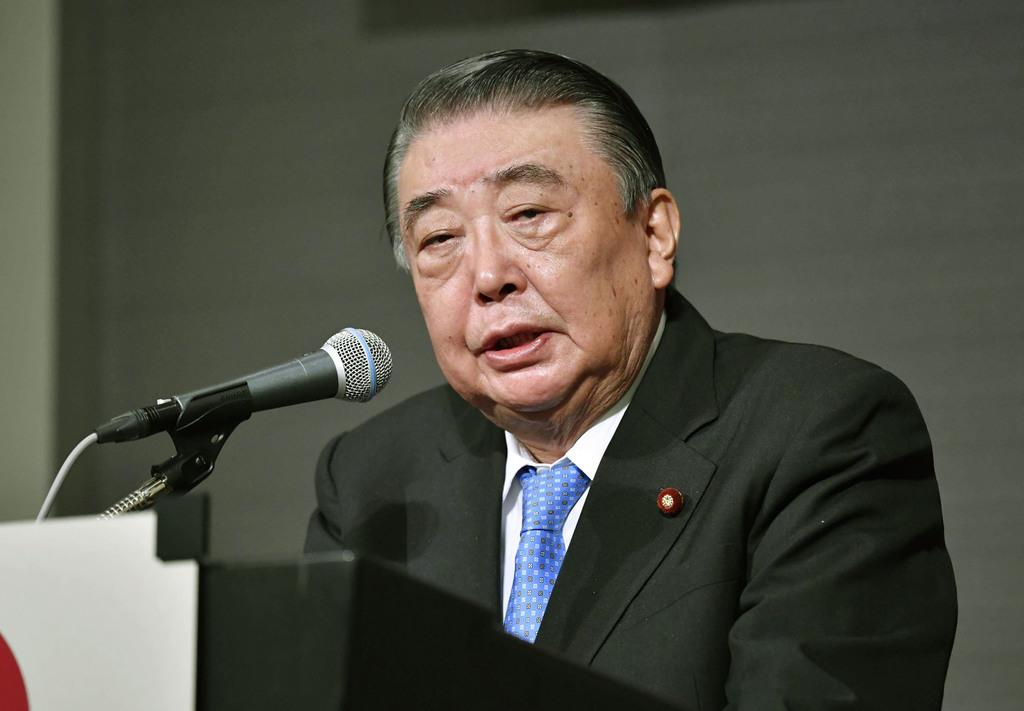 講演する大島衆院議長=15日午前、東京都内