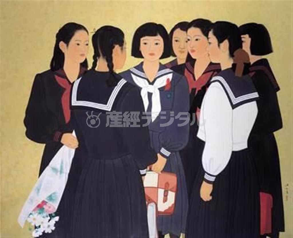 日本画家の伊東深水が、まな娘・朝丘雪路さんの女学生時代を描いた作品「夢多き頃」(昭和27年)。左から2人目の後向きの生徒が雪路さん