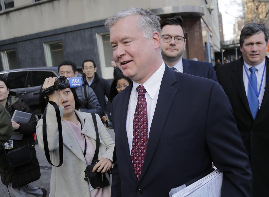 米国の国連大使を訪問するビーガン特別代表==3月14日、ニューヨーク(AP)