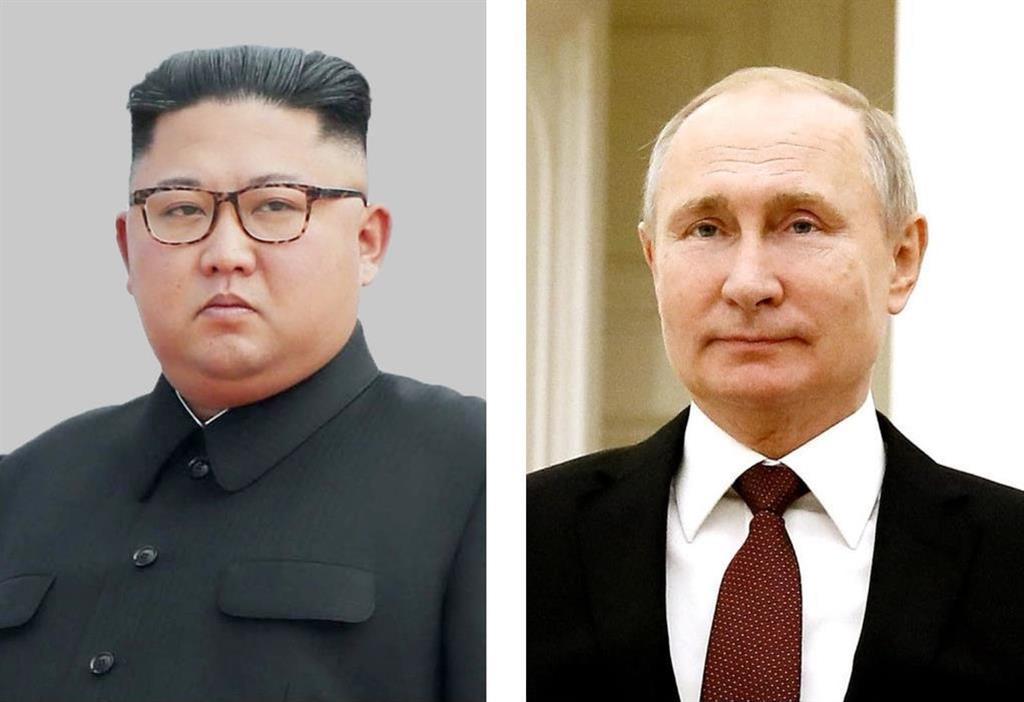 (左から)北朝鮮の金正恩朝鮮労働党委員長、ロシアのプーチン大統領