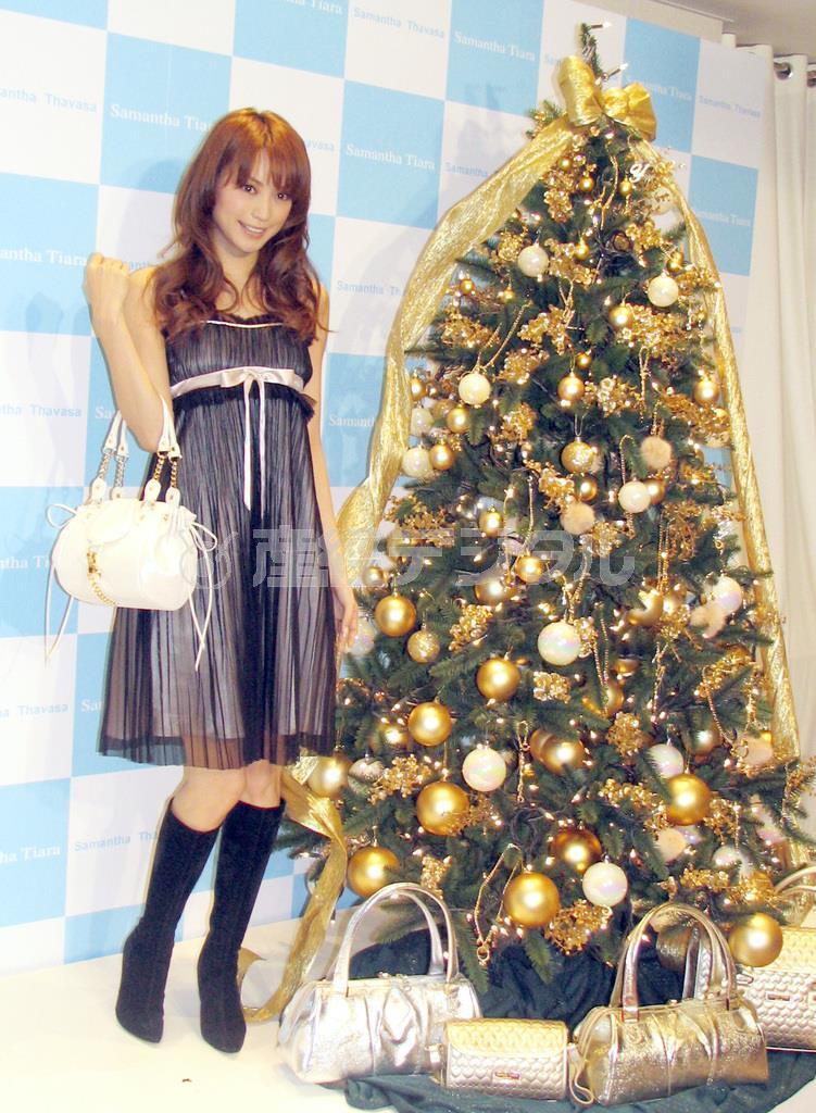 自らプロデュースしたクリスマスツリーの点灯式を行なった人気モデルの蛯原友里さん=平成18(2006)年12月