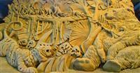 目を引く砂の巨像 テーマは「南アジア」 鳥取の美術館