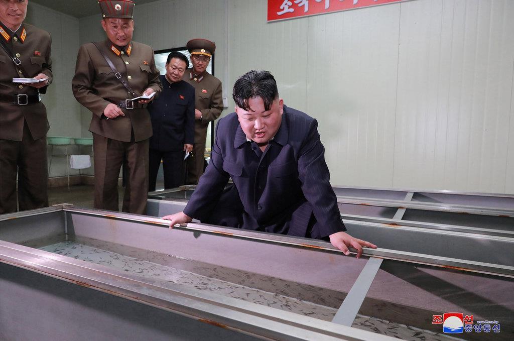 16日、養殖場を視察する金正恩・朝鮮労働党委員長(朝鮮中央通信=朝鮮通信)