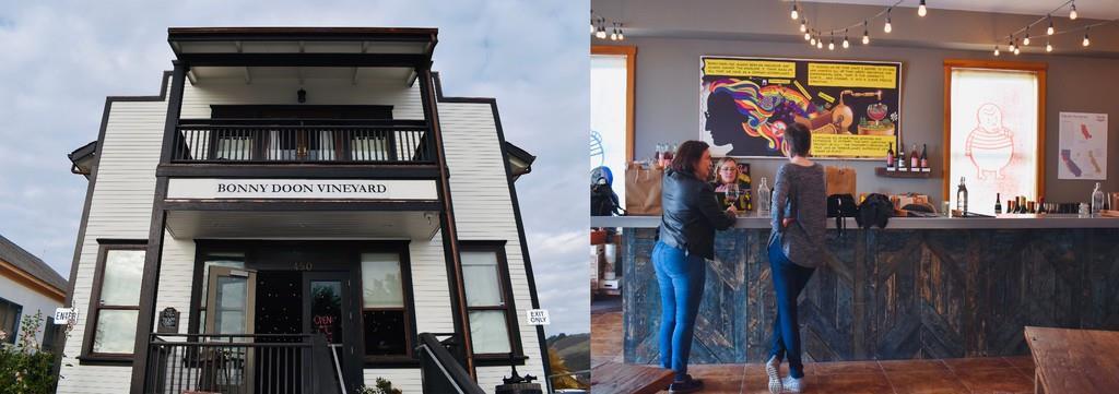 ダヴェンポートにある小さなテイスティングルーム(左)。カラフルな店内にはワイン愛好者らが集う