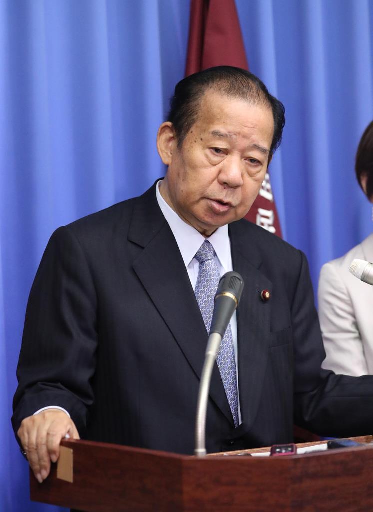 会見に臨む自民党・二階俊博幹事長=23日、国会内(春名中撮影)