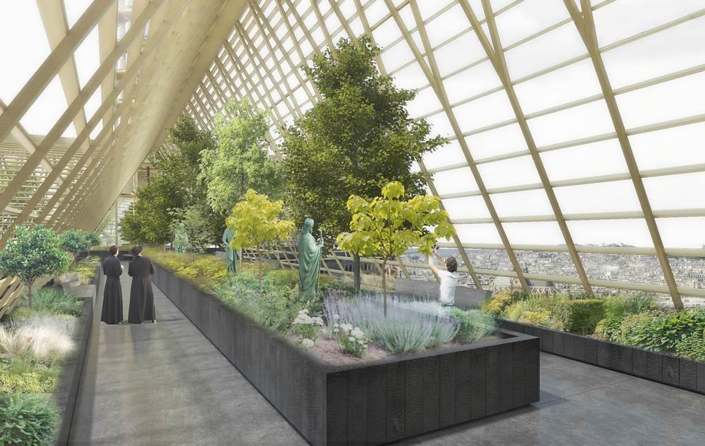 ノートルダム大聖堂の再建で、屋上を緑の回廊にするデザイン画(NAB提供)