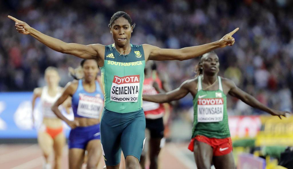 2017年8月、陸上世界選手権の女子800メートルを制したキャスター・セメンヤ選手=ロンドン(AP)